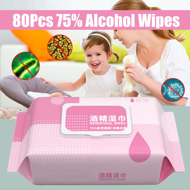 80Pcs 75% Alcohol Disinfecting Antiseptic Pads Multi Purpose Skin Cleaning Wet Wipes Sterilization First Aid Portable Sanitary