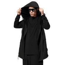 Halloween Women Men Unisex Gothic Outwear Hooded Coat Black Long Jacke