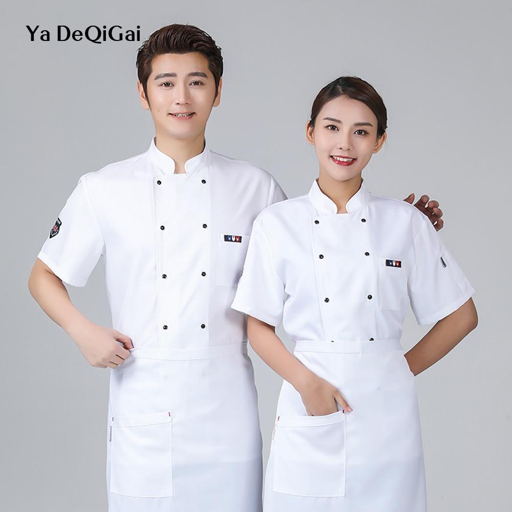 New Wholesale Hotel Uniform Casual Shirt Dessert Hotel Bar Canteen Short Sleeve Hot Pot Shop Master Work Clothes High Quality
