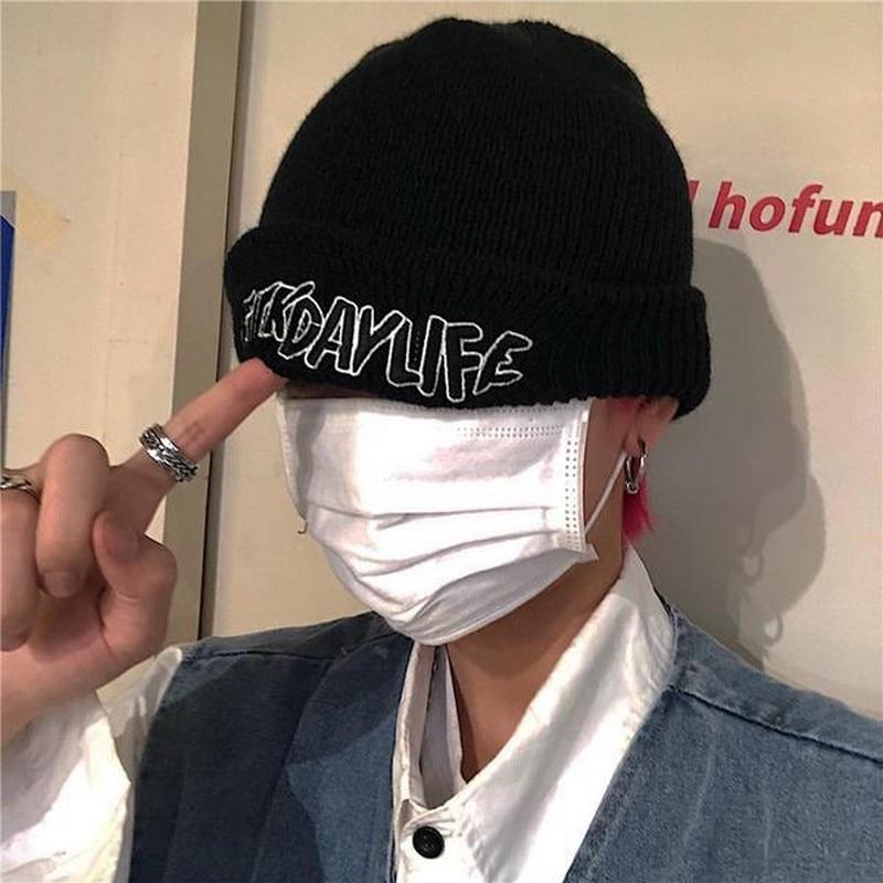 NiceMixWomen Men Fashion Korean Streetwear Embroidery Knit Winter Spring Autumn Cap Hat Hip Hop Black Solid White Knitted
