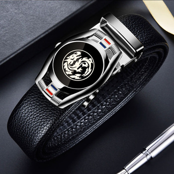 Belts for 3.5cm Width Sports Car Brand Fashion Automatic Buckle Black Genuine Leather Men's Jeans High Quality Waist Male Strap 17