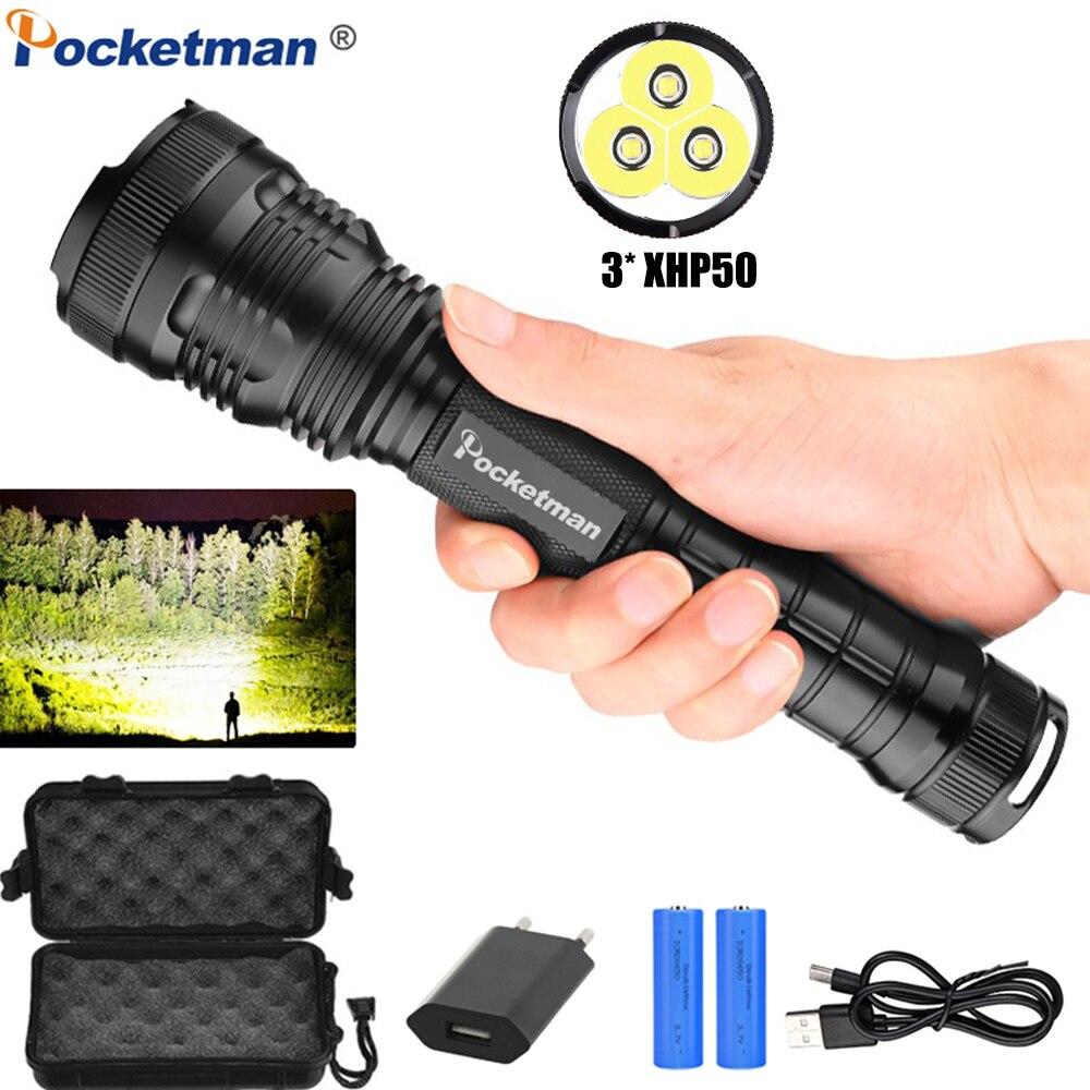 Brightest Flashlight X-Lamp 3*XHP50 LED Flashlight Zoom LED Torch USB Rechargeable Flashlight Powerful XHP70 XHP50 Torch 18650