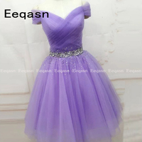 Light Purple Cute Cocktail Dresses Semi Formal Occasion Dress Off the Shoulder Pleated Tulle Beaded Puffy Cheap Party 2020
