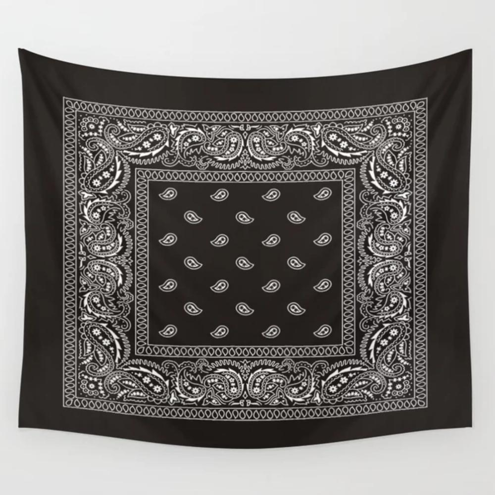 Paisley Bandana Black Southwestern Wall Hanging Tapestries Wall Decor Coverlet Blanket Towel Furniture Polyester Tapestry