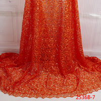 High End Beaded Lace For Weddings African French Lace Design Wedding Dress Fabric With Rhinestones QF2536B 7