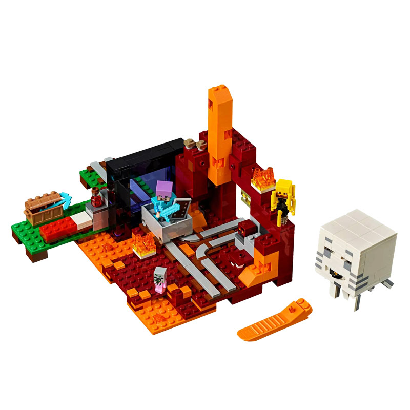 My World Bricks Minecraftingly The Nether Portal Compatible Legoingly Minecraftingly 21143 Building Blocks Toys For Kids Gift