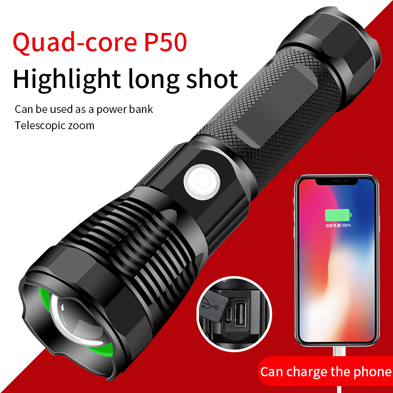 Multifunction  Input Output High Powerful Led Flashlight USB Zoom Tactical Torch PH50 26650 Battery USB Rechargeable Flashlight