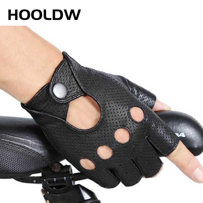 HOOLDW Fashion PU Half Finger Gloves Men Women Breathable Driving Show Leather Gloves Punk Jazz Fingerless Mittens Luva Guantes