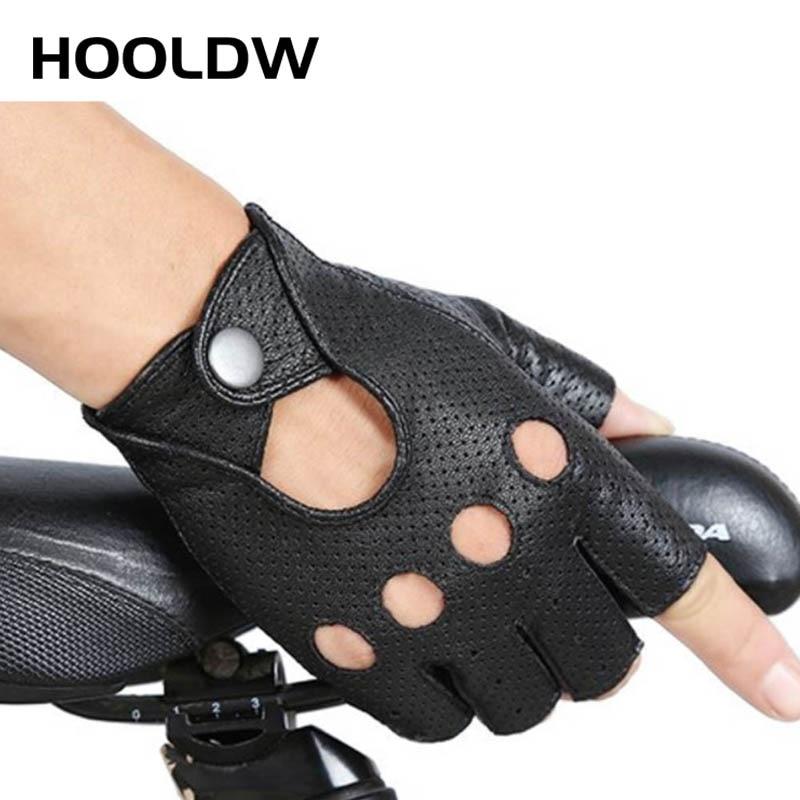 HOOLDW Fashion PU Half Finger Gloves Men Women Breathable Driving Show Leather Gloves Punk Jazz Fingerless Mittens Luva Guantes