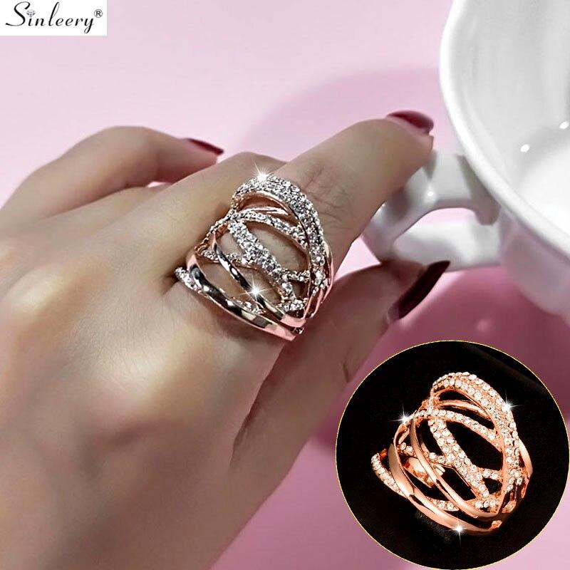 SINLEERY moda Multi círculos retorcidos anillos anchos oro rosa plata Color Mirco pavimentado claro CZ piedra joyería de las mujeres Anel JZ016 SSB