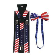 Men Women American US Flag Y-Back Suspender Pre-Tied Bow Tie Set