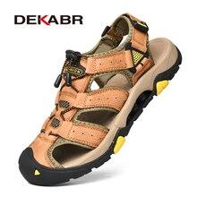 DEKABR Mới Nam Mùa Hè Dép Sandal Thời Trang Nam Da Thật Da Giày Đi Biển Ngoài Trời Chống trơn trượt Nam Giày Sandalias