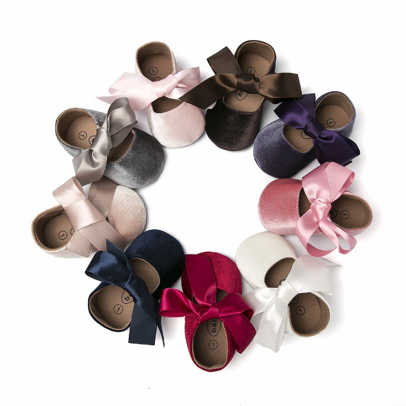 Baby Girl Shoes Bow Lace Up Cotton Princess Baby Shoes With Rubber Sole First Walkers Newborn Moccasins For Girls