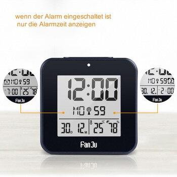 DCF-reloj Digital de pared con termómetro, higrómetro de humedad, despertador de mesa decorativo, tiempo controlado por Radio, RCC