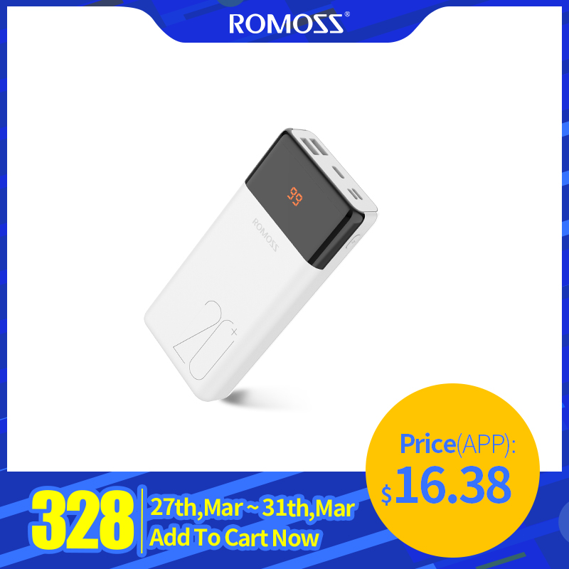 20000mAh ROMOSS LT20Plus Power Bank Portable External Battery With PD Two-way Fast Charging Portable Charger For Phones Tablet