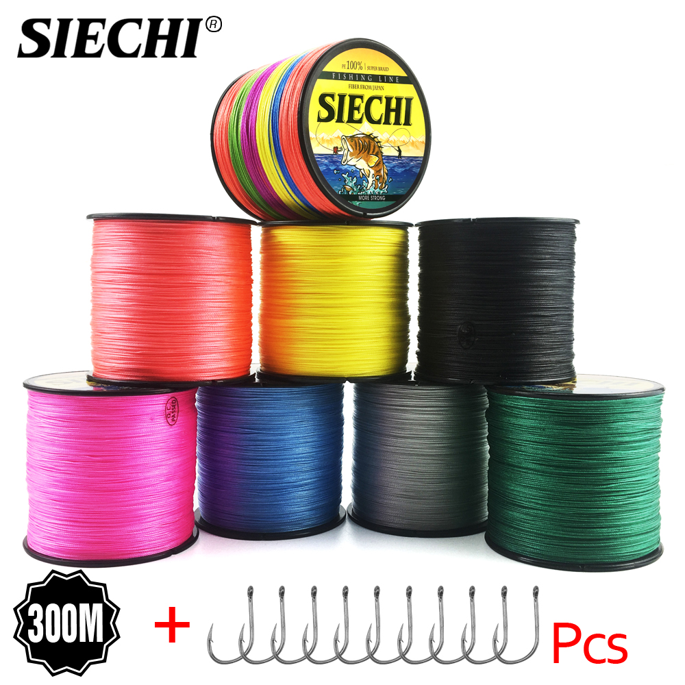 SIECHI Braid Fishing line 300M 4 Strands Multifilament Fishing Wire Carp Fishing 12 15 20 30 38 43 52 62 83lb