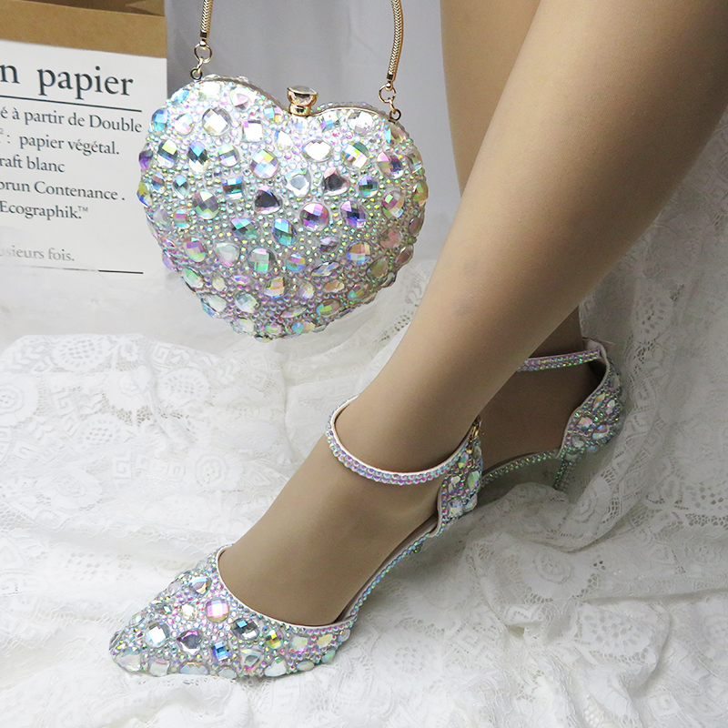 Love Moments AB crystal Wedding shoes 9cm Sweet Heels party shoes Woman Wedding shoes with matching bags Heart bags and shoes