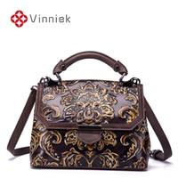 New Genuine Leather Luxury Handbags Women Shoulder Bag Embossed Designer Vintage Cross Body Bags Soft Ladies Messenger Bag Large
