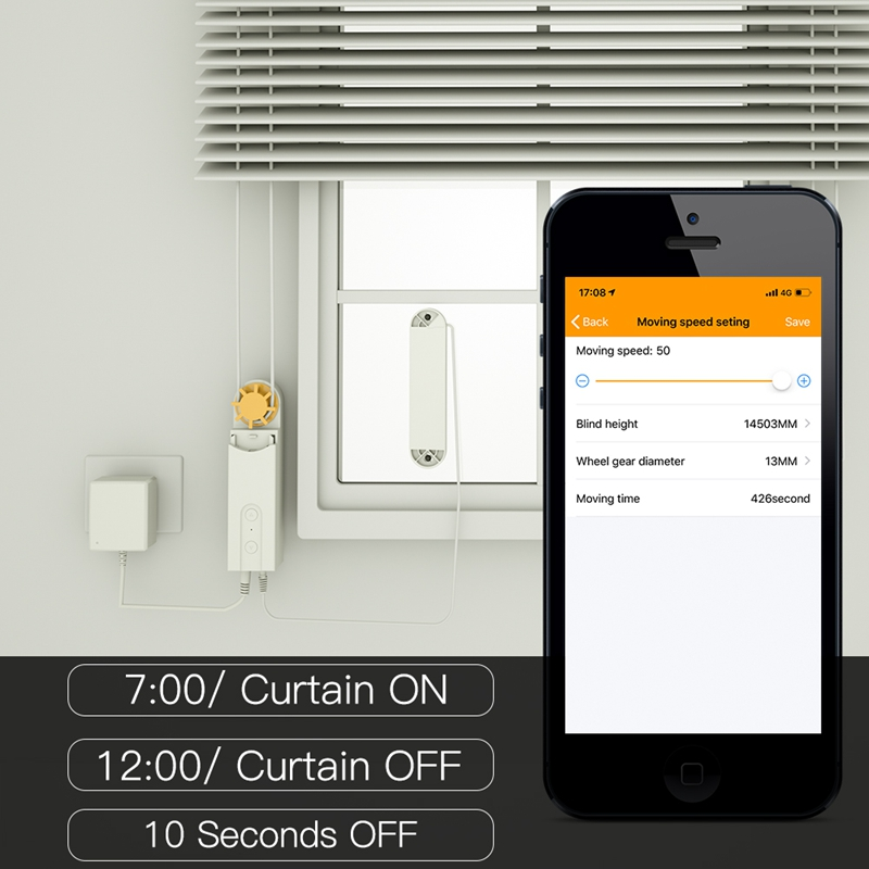 DIY Smart Motorized Chain Roller Blinds Shade Shutter Drive Motor Powered By Solar Panel And Charger Bluetooth APP Control(EU Pl