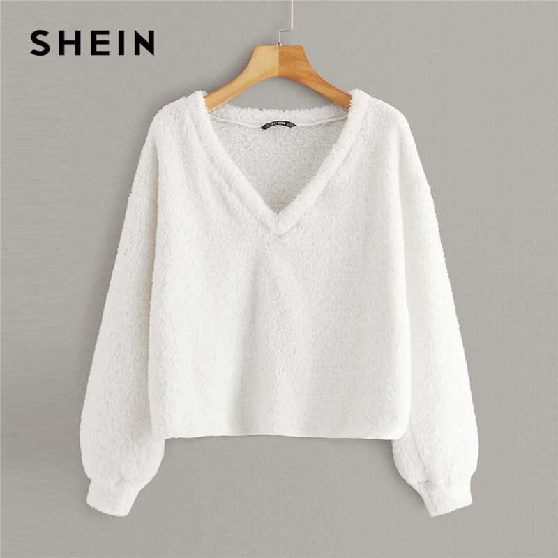 SHEIN Solid V Neck Drop Shoulder Fuzzy Winter Pullover Women Tops Autumn Fashion Long Sleeve Basic Ladies Casual Sweatshirts