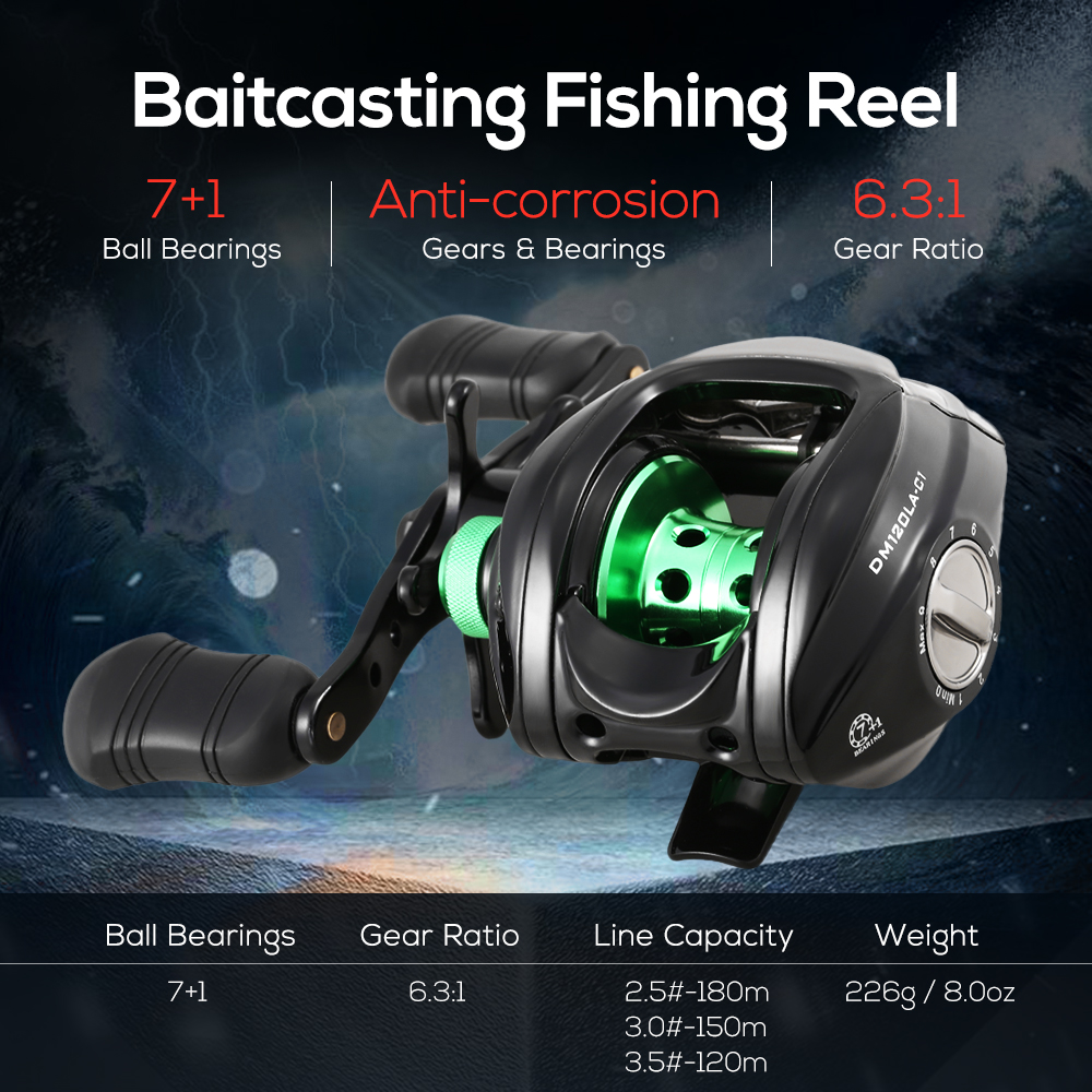 7+1BB 6.3:1 High Speed Fishing Reels Baitcasting Reel Bait Casting Carp Fishing Tackle Left/Right Hand Fishing Reel Wheels image