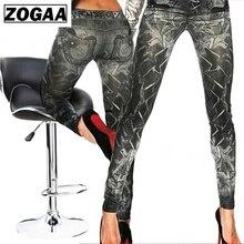 Imitation Jeans Leggins for Women Pants with Pocket Body Cowboy Slim Leggings Fitness ZOGAA