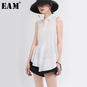 [EAM] Women White Pleated Asymmetrical Blouse New Lapel Sleeveless Loose Fit Shirt Fashion Tide Spring Autumn 2020 1T976