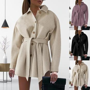 2020 Autumn Winter Woolen Coat Women V-neck Folded Collar Mid-length Jackets Waistband Fasteners Female Overcoats image