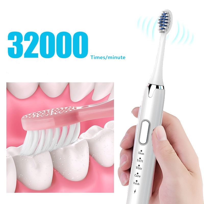 Powerful Sonic Electric Toothbrush Adult 5 Mode Washable USB Rechargeable Replacement Heads Whitening Teeth Automatic Toothbrush