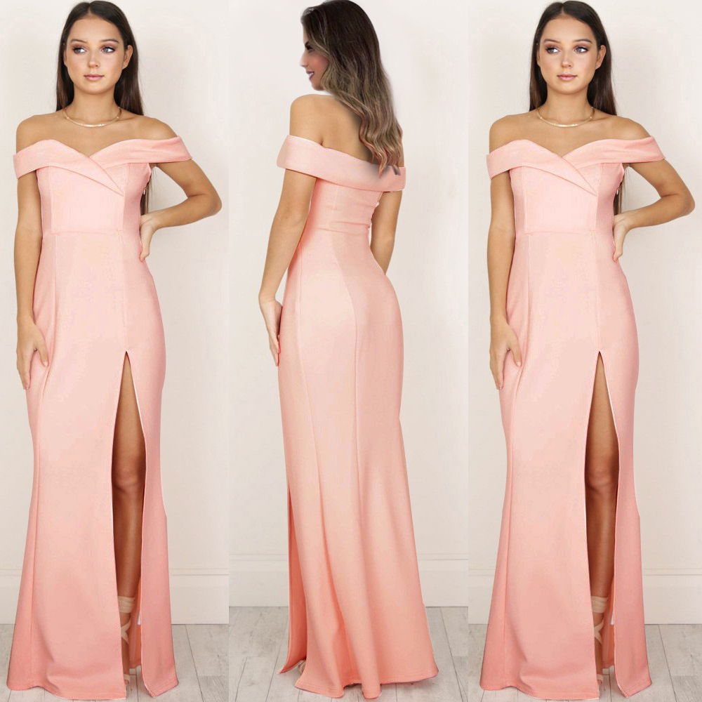 Maxi Split Party Dress Women Slash Neck Off Shoulder 2020 Summer Solid A Line Long Elegant Party Evening Sexy Vestidos  D30