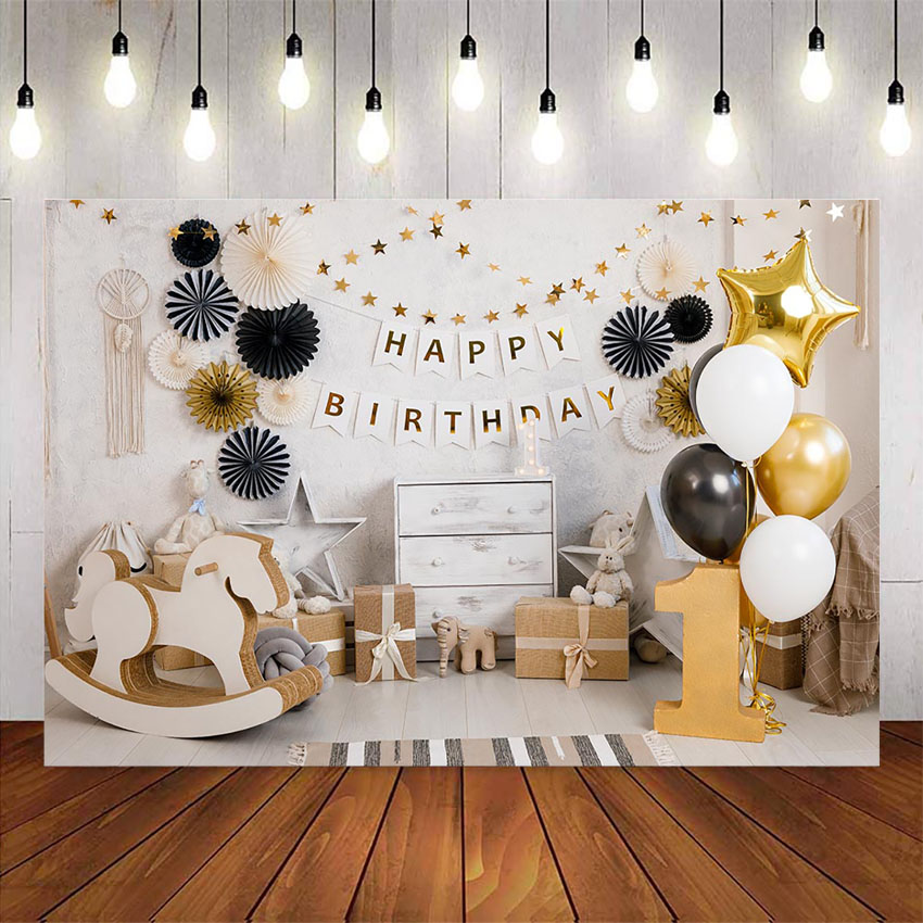 Happy 1st birthday party decortion supplies Trojan first birthday balloons backdrop for photography studio children photographic