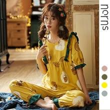 Norns Pyjama Women Sexy Lingerie Set Summer Sleepwear Female Pajama set Cute Nightwear Slee