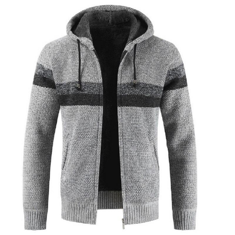 Autumn Winter Men Hoodies Knitted Sweater Male Patchwork Thicken Warm Hooded Cardigan Jumpers Wool Liner Zipper Fleece Coats