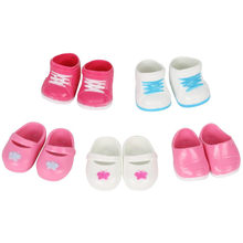 Huang Cheng Toys 5 Pairs Big Size Shoes for 15-18 Inch Doll Toy Boots Sneakers Babouche Shoes Baby Girl Doll Parts Kid Toys(China)