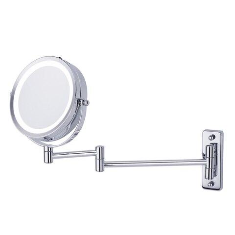 Melhor venda quente fixado na parede espelho de maquiagem led luz dois lados 360 girar