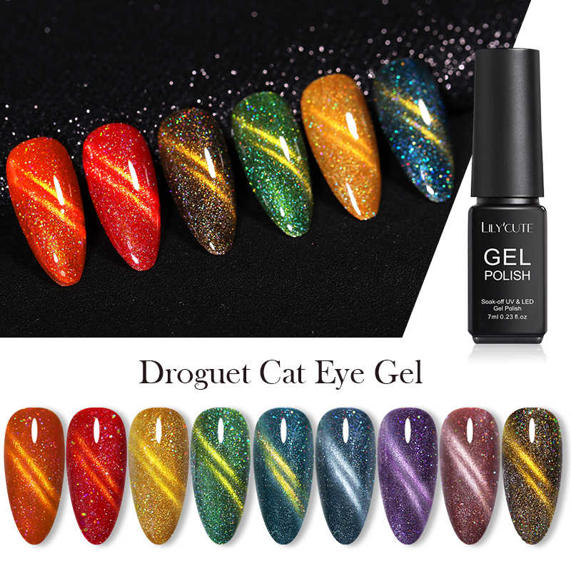LILYCUTE 7Ml Glitter Magnetic UV Gel Polish Cat Eye UV LED Gel Nail Art Pernis Kuku Seni Rendam Off gel