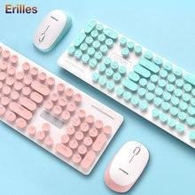 24g Беспроводная клавиатура и мышь combos розовый женский домашний