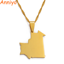 Anniyo Mauritania Map Pendant Necklace for Women/Men,Gold Co