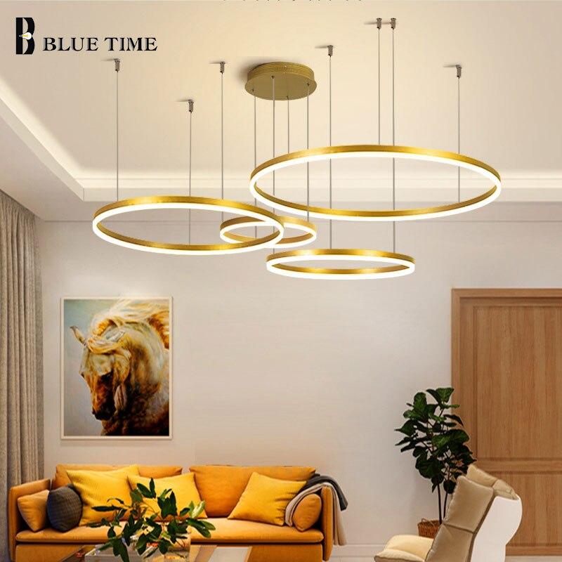 Lustre Led moderne minimaliste, éclairage Hme, anneaux brossés, lustre monté au plafond, éclairage de la lampe à suspendre, or et couleur café