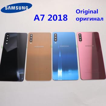 A7 z powrotem klej do szkła Samsung Galaxy A7 2018 A750 A750F SM-A750F A750GN-DS pokrywa baterii obudowa na tył telefonu oryginalny tanie i dobre opinie Glass+Plastic Dla Galaxy S