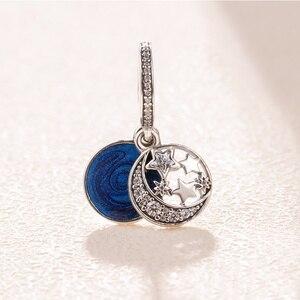 Sıcak satış 100% 925 ayar gümüş emaye ay ve mavi gökyüzü Dangle çekici boncuklar orijinal pandora takılar bilezik takı yapımı