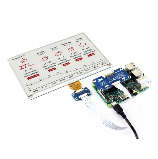 7.5 polegadas e paper hat (b) 800 × 480 e ink display módulo três cores spi interface com exemplos para raspberry pi/stm32