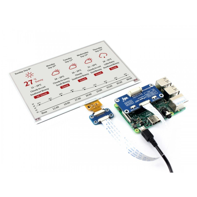 7.5inch e Paper HAT (B) 800×480 E ink Display Module Three color SPI interface with examples for Raspberry Pi/STM32