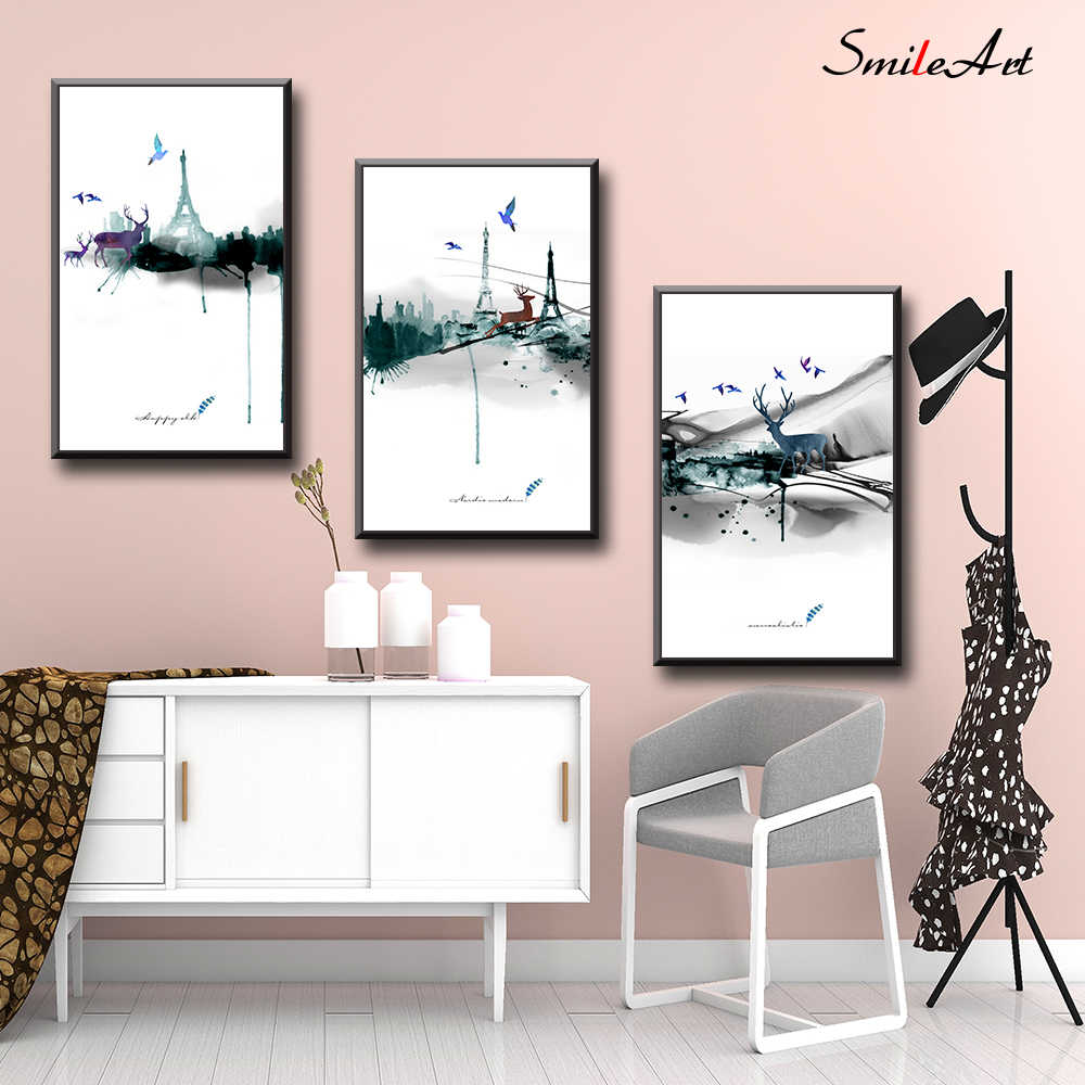 Modern Style Canvas Abstract landscape painting Posters and Prints Wall Art Wall Pictures Dining Room Kitchen Boho Decor