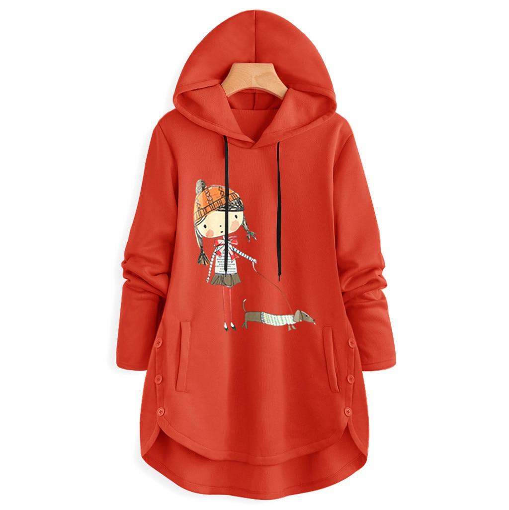 Jaycosin Fashion Women Simple Cartoon Print Sweatshirt Stylish Long Sleeve Comfortable Casual Chic Hoodie Pullover Blouse 925#3