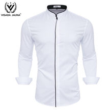 VISADA JUANA Fashion Casual Men Shirt Top Quality Male Shirt Collar Printed Thin Camisas Homme Y146(China)