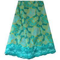 Fresh Aqua Green Lace 2019 Swiss Voile Lace Fabric Women Garment Clothing Fabric Nigerian Latest Lace Fabric 2019