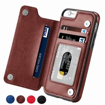Luxury Slim Fit Premium Leather Cover For iPhone 11 12 mini Pro XR XS Max X 6 6s 7 8 Plus Wallet Card Slots Shockproof Flip Case image