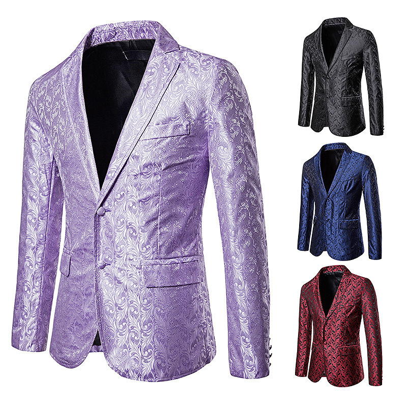 New <font><b>Men</b></font> Designs Black Velvet Gold Flowers <font><b>Sequins</b></font> Suit <font><b>Jacket</b></font> fashion Lapel <font><b>Blazer</b></font> DJ Club Stage Singer dance Clothes top coat image