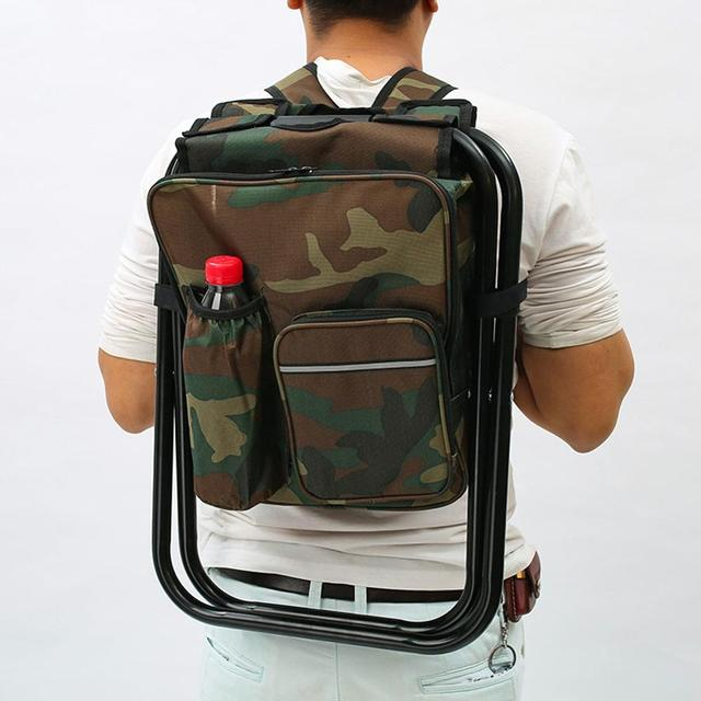 Outdoor Fishing Chair Bag Folding Camping Stool Portable Backpack Cooler Insulated Picnic Bag Hiking Seat Table Bag Bear 150KG 4